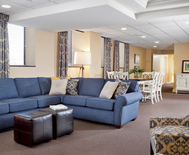 Shared spaces in Assisted Living are modern and comfortable.