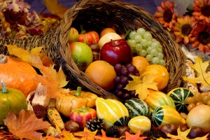 Close-up of assorted fruit in a basket on Thanksgiving Day