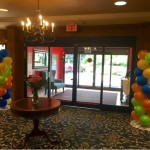 Colorful balloons decorated the lobby to enhance the Caribbean Themed Event.