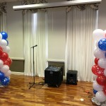 The Sky Room is ready and decorated with Red, White and Blue balloons for the 4th of July celebration.