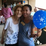 Lovely resident posing withan associate during the BBQ.