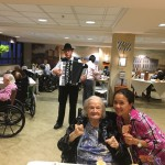 Residents in The Springs were serenaded with traditional German music.