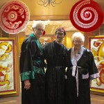 Residents dressed up in a traditional Asian outfit.