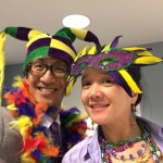 Community Life wearing some Mardi Gras accessories for the occasion.