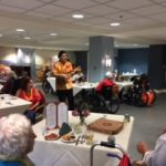 Ukulele player and our graceful Luau dancer performing for the Springs residents.