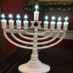 Menorah display in the lobby of the community