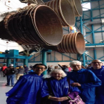 Touring the Kennedy Space Center's Apollo 18 spacecraft exhibit with Pat Dowd and Barbara Gallagher